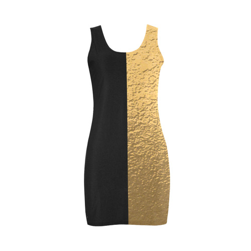 Gold Metallic & Black Striped Border Medea Vest Dress (Model D06)