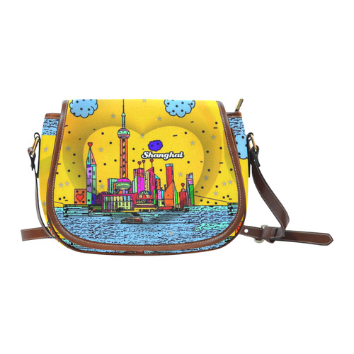 Shanghai / 上海 Popart by Nico Bielow Saddle Bag/Large (Model 1649)