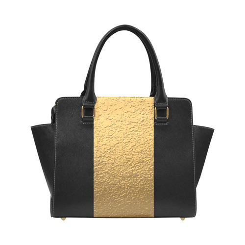 Gold Metallic & Black Striped Border Classic Shoulder Handbag (Model 1653)