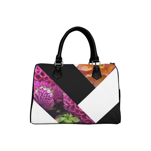 Black White & Floral Diagonals Abstract Boston Handbag (Model 1621)