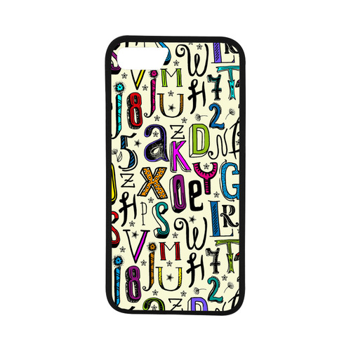 "Letters Numbers Stars Typography Pattern Colored Rubber Case for iPhone 7 (4.7"")"