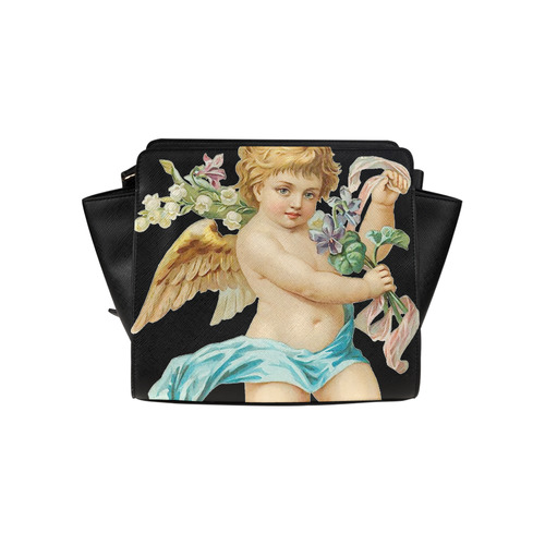 Vintage Easter Angel With Flowers Satchel Bag (Model 1635)