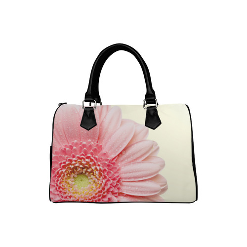 Pink Flower Beige Background Boston Handbag (Model 1621)