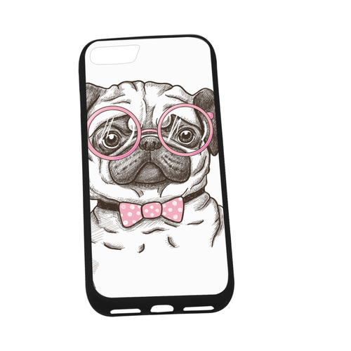 "pug in glasses Rubber Case for iPhone 7 (4.7"")"