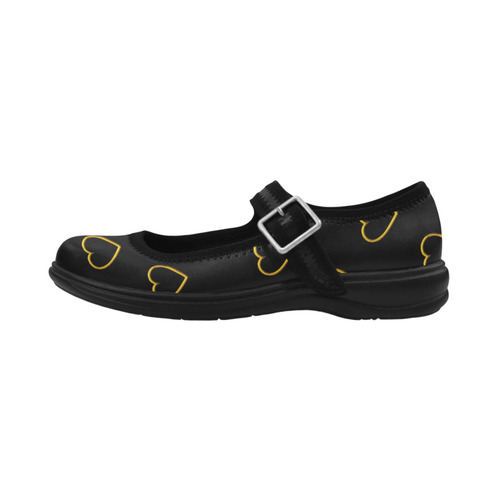 Golden Valentine Love Hearts on Black Virgo Instep Deep Mouth Shoes