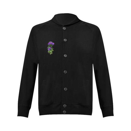 Purple Garden Flowers, watercolors Women's Baseball Jacket (Model H12)