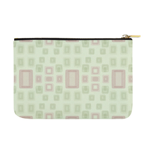 Green and Pink squares - back to 70's Carry-All Pouch 12.5''x8.5''