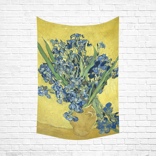 "Van Gogh Irises Yellow Background Cotton Linen Wall Tapestry 60""x 90"""