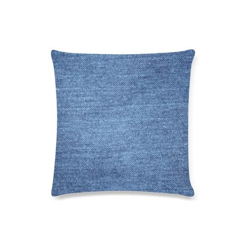 "Classic Denim Blue Custom Zippered Pillow Case 16""x16""(Twin Sides)"