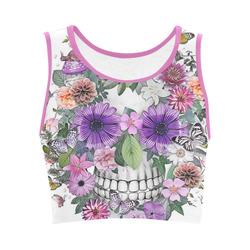 Skull pink flower gifts artsadd flower skull pink orangeviolett womens crop top mightylinksfo