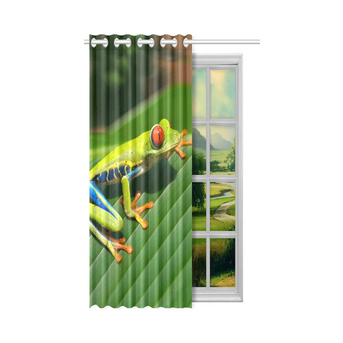 """Tropical Rainforest green red-eyed Tree Frog New Window Curtain 50"""" x 84""""(One Piece)"""