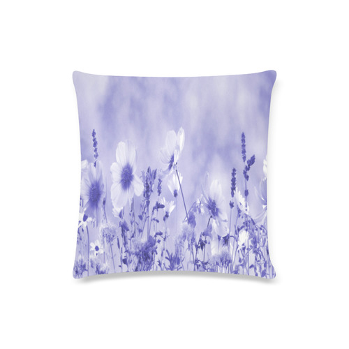 "Violet Shaded Wildflowers Custom Zippered Pillow Case 16""x16""(Twin Sides)"