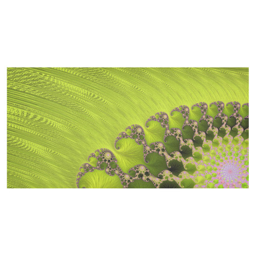 """Candy Pink Green Lime Fractal Cotton Linen Tablecloth 60""""x120"""""""