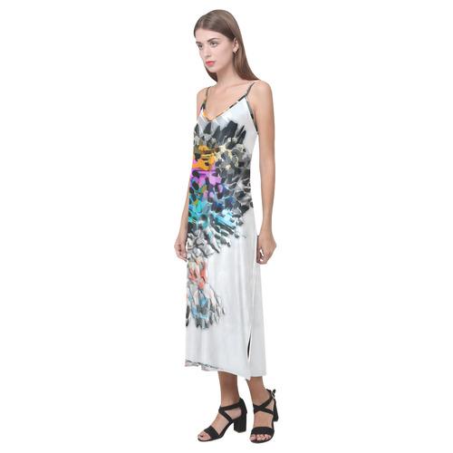 Rock Wall by Artdream V-Neck Open Fork Long Dress(Model D18)