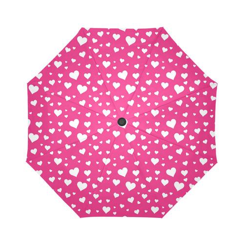 Hearts Bright Pink Auto-Foldable Umbrella
