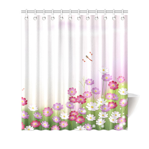 Cute Pink Flower Dragonfly Floral Shower Curtain