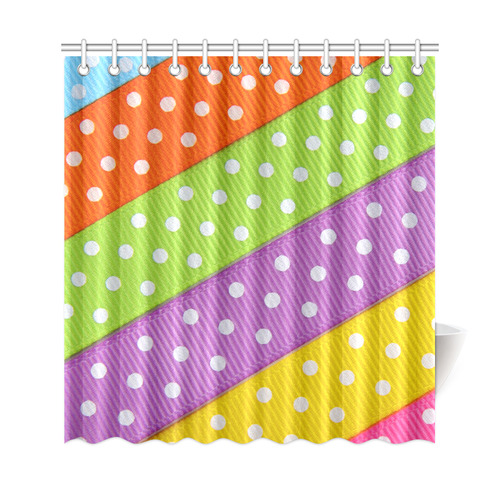 Colorful Ribbons White Dots Shower Curtain 69x72