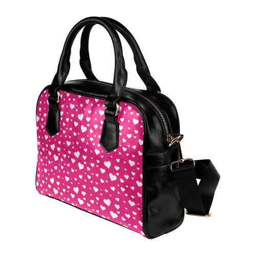 Hearts Bright Pink Shoulder Handbag (Model 1634)