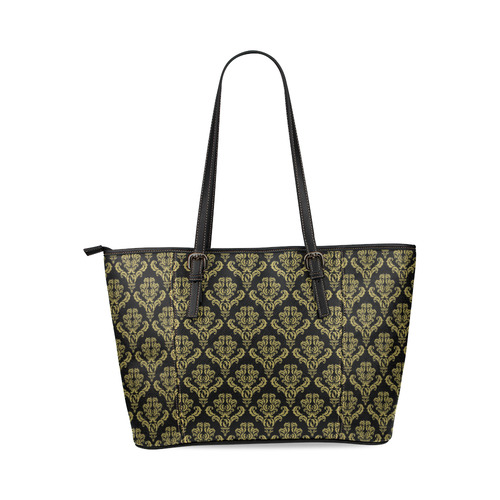 Fancy Black and Gold Damask Leather Tote Bag/Large (Model 1640)