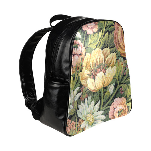 Grandma's Couch Floral Apholstery Look Multi-Pockets Backpack (Model 1636)