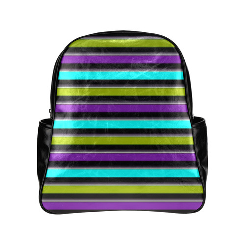 retro stripe 1 Multi-Pockets Backpack (Model 1636)