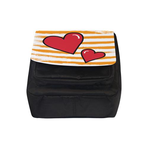 POP ART Style Two Hearts with Orange Brushstrokes Stribes Background Crossbody Nylon Bags (Model 1633)