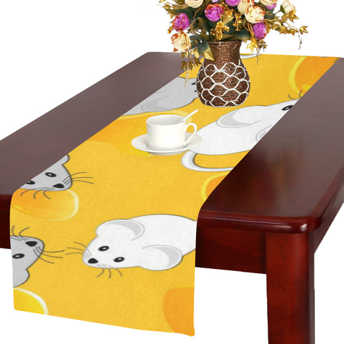 mice on cheese Table Runner 16x72 inch