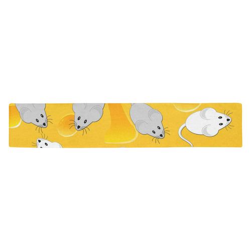 mice on cheese Table Runner 14x72 inch