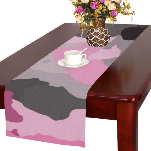 pink gray and black camouflage Table Runner 16x72 inch