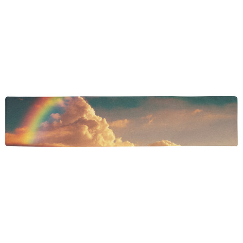 Vintage Yellow Clouds with Rainbow Table Runner 16x72 inch