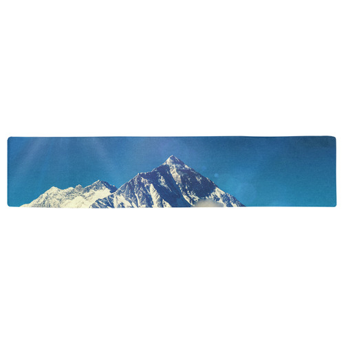 Snow Solo Mountain High Nature Blue Flare Table Runner 16x72 inch
