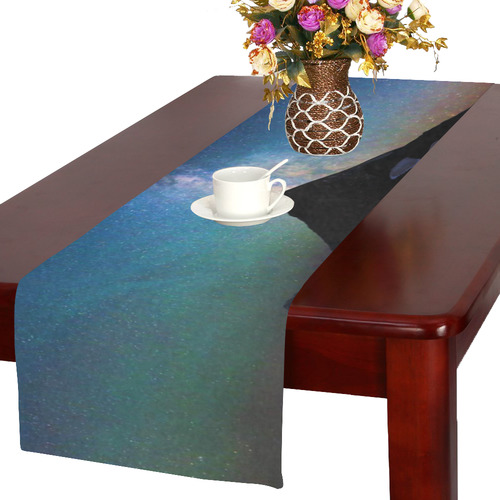 Mountain Aurora Sky Night Star Nature Milky Way Table Runner 16x72 inch