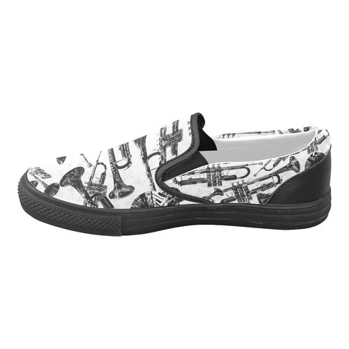 Trumpet Design Black and White Music Print Slip-on Canvas Shoes for Men/Large Size (Model 019)