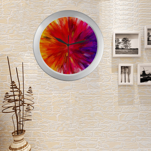 Multicolor Abstract Fractal Silver Color Wall Clock