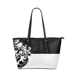 Black   White Inverted Damask Leather Tote Bag Small (Model 1651) 1bb5345cdadcc