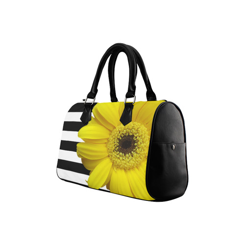 Yellow Daisy Flower Black & White Stripes Boston Handbag (Model 1621)