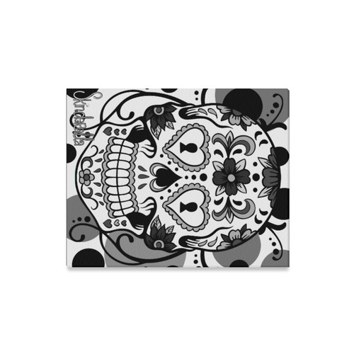 "Black and White Sugar Skull Day of the Dead Skull tattoo flash art by Skinderella Canvas Print 16""x20"""