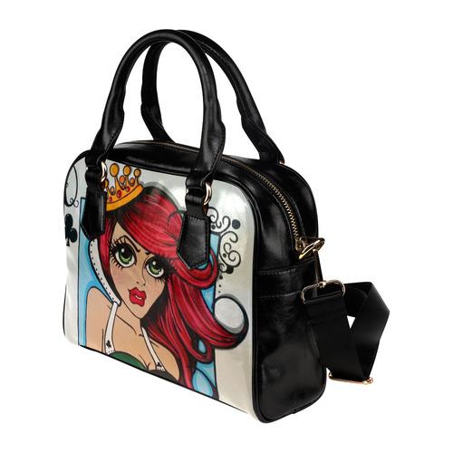 """Queen of Clovers"" by Skinderella bigeye art tattoo flash art pinup girl art Shoulder Handbag (Model 1634)"