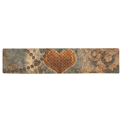 Steampuink, rusty heart with clocks and gears Table Runner 16x72 inch