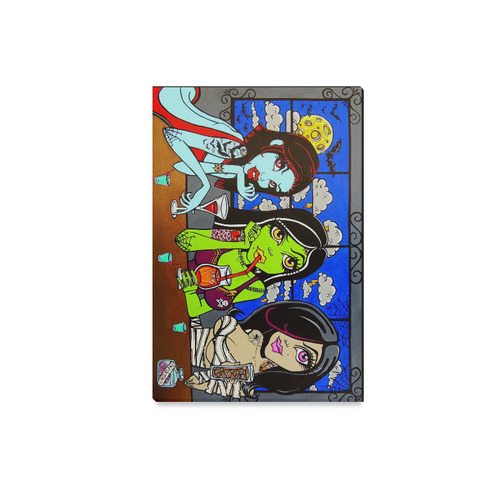 """""""Ghouls Night Out"""" by Skinderella monster pinup girls  bigeye tattoo art Canvas Print 18""""x12"""""""