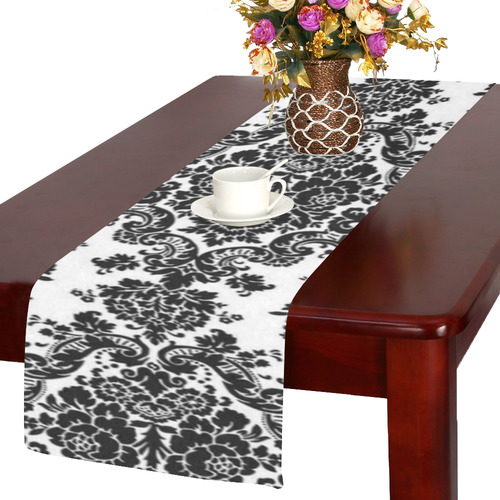 Black and White Damask Table Runner 14x72 inch