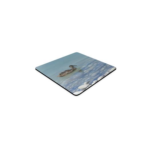 Swimming Duck, watercolor bird Square Coaster