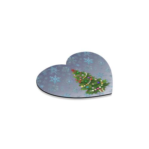 Christmas Tree at night, snowflakes Heart Coaster