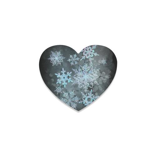 Snowflakes, snow, white and blue, Christmas Heart Coaster
