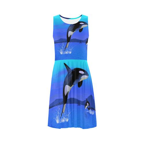 A Orca Whale Enjoy The Freedom Sleeveless Ice Skater Dress (D19)