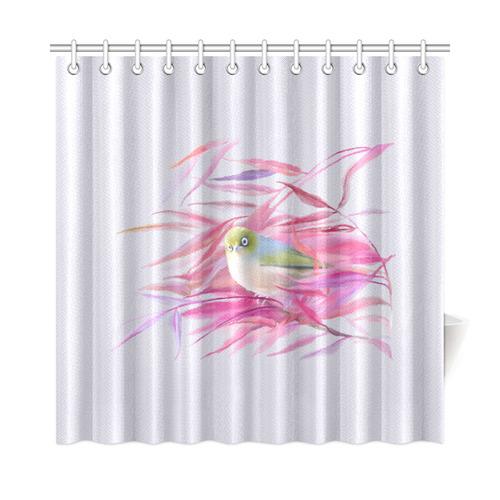 Cute Little SilverEye Angry Bird Watercolor Shower Curtain 72x72
