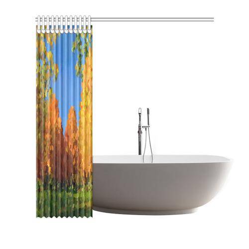 """Park, oil painting, landscape Shower Curtain 66""""x72"""""""