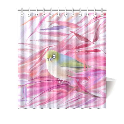 Cute SilverEye Angry Bird Watercolor Shower Curtain 66x72