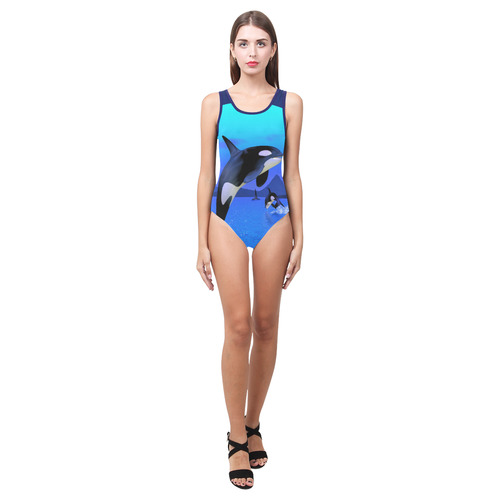 A Orca Whale Enjoy The Freedom Vest One Piece Swimsuit (Model S04)