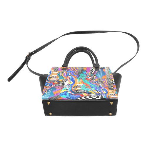Girls Rock Music Band Colorful Guitar Music Art By Juleez Rivet Shoulder Handbag (Model 1645)